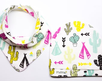 "Hat and bandana for neck in organic cotton ""cactus"""