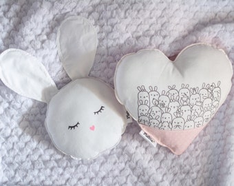 """Couple of pillows for children """"love for Bunnies"""""""