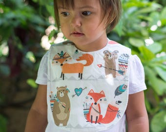 "Maxi bib ""Foxes and bears"""