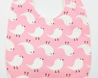 "Maxi bib ""Birds on pink background"""