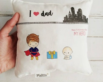"Hand Painted 20x20 Pillow ""You are my Papa superhero!"""