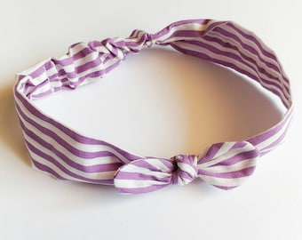 Hair band for baby girl or mom with white stripes and lavender