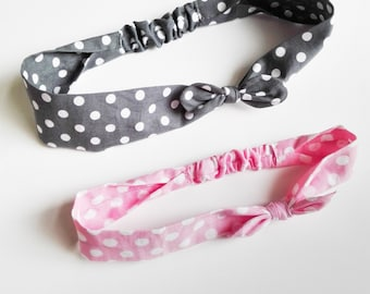 "Pair of hair bands Mom & Daughter ""Polka dots pink and grey"""