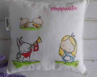"Customizable hand Painted pillow ""Alice"""