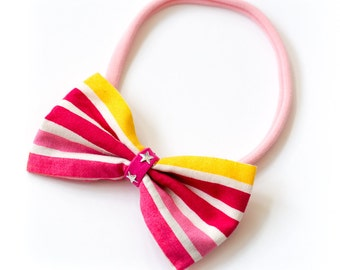"""Hair band with bow all sizes """"strips"""""""
