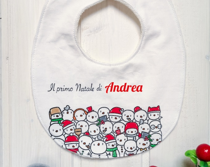 """Featured listing image: Hand-painted bib customizable """"How many snowmen!"""""""