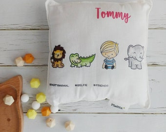 "Baby cushion hand-painted ""hashtag Friends""-Little Boy"