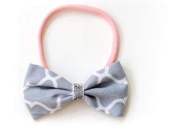 """Hair band with bow all sizes """"Glitter silver"""""""