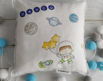 "Cushion 20x20 hand-painted ""astronaut"""