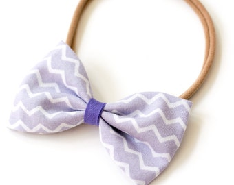 """Hair band with bow all sizes """"light chevron"""""""