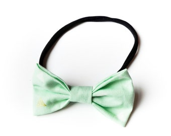 Hair band with bow all sizes mint green