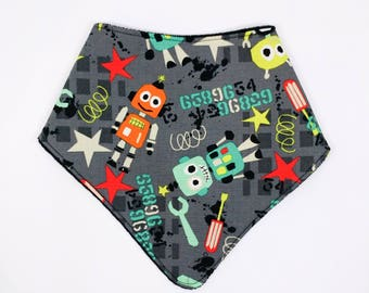 "Bandana with absorbent sponge ""Robots and Stars"""