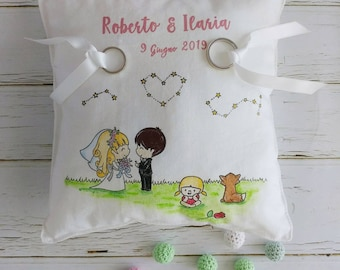 "Pillow Door Wedding rings 20x20 hand painted ""Little Prince"""