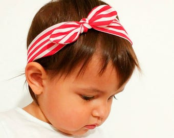 Hair band for baby girl or mom with white and red stripes