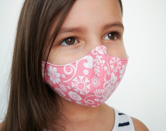 """""""FLOREALE ROSA AND WHITE"""" filter pocket mask Available in all sizes"""