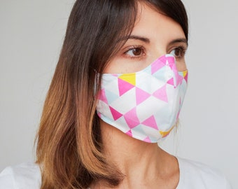 """Mask with filter pocket """"fuchsia triangles"""" Available in all sizes"""
