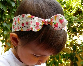 """Hair band for baby or for mom """"strawberries and ice creams"""""""