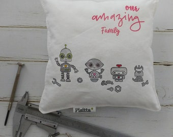 """Cushion 20x20 Hand-painted """"robot Family"""""""