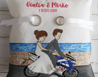 "Around 22x22 hand-painted ""married on motorcycle"""