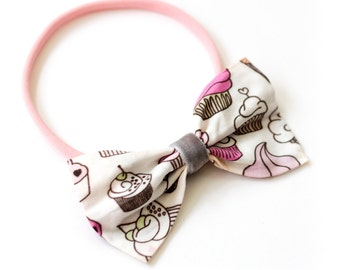 "Hair band with bow all sizes ""cupcake"""