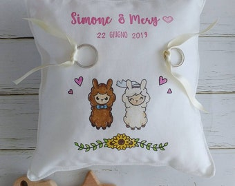 "Wedding Ring Pillow 20x20 hand-painted theme ""Animals in Love"""