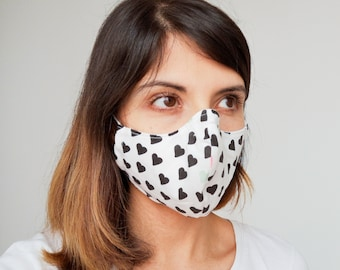 """""""Hearts"""" filter pocket mask Available in all sizes"""