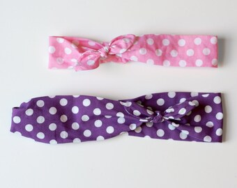 "Pair of hair bands Mom & Daughter ""Polka dots pink and purple"""