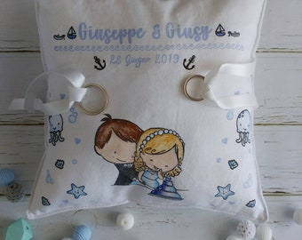 Wedding Ring Pillow 20x20 hand Painted marine theme