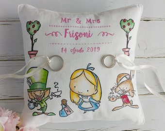 "Wedding ring Pillow 20x20 hand Painted ""Alice"""