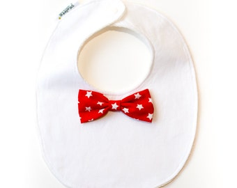 """Elegant Little bib""-red bow tie with starlets"