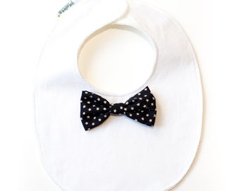 """Elegant Little bib""-black bow tie with starlets"