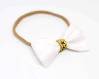"""Hair strap with bow all sizes """"Golden Christmas"""""""