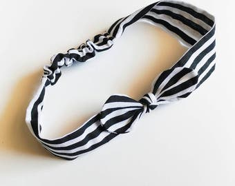 Hair band for baby girl or mom with black and white stripes