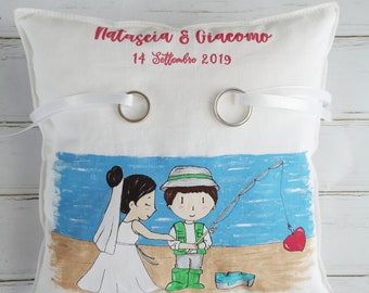"Hand-painted 22x22 faith holder cushion ""Cartoon Style Fisherman'"