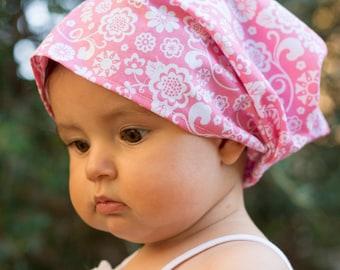"""Bandana for little girl """"pink flowers"""""""