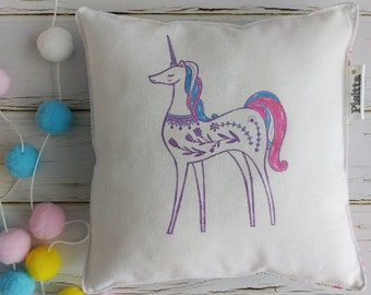 "20x20 hand-painted ""unicorn"" cushion"