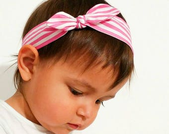 Hair band for baby girl or mom with white and pink stripes