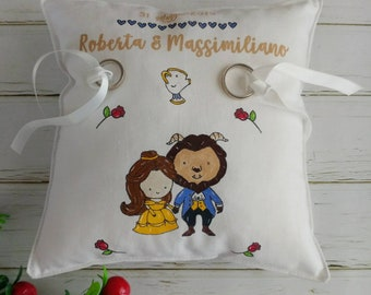 "Pillow Door Wedding Rings Theme ""Beauty and the Beast"" customizable"
