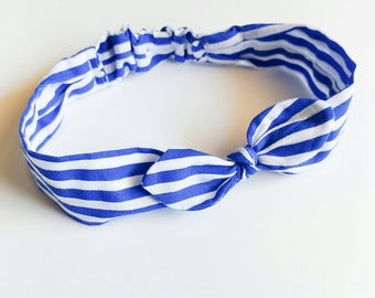 Hair band for girl or mom in white and blue stripes