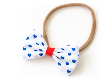 """Hair band with bow all sizes """"Blue Hearts"""""""