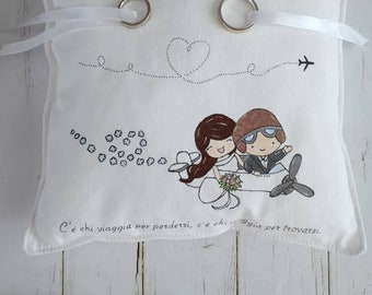"Faith-holder cushion ""travelling brides"" 22x22 approximately hand-painted"