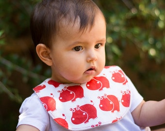 """Bib with """"Hippos"""" Pacifier Holder clip"""