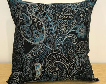 "Blue Moroccan Fabric Paisley Tapestry Cushion Cover Pillow Throw. 18"" (45cm). Made Australia"