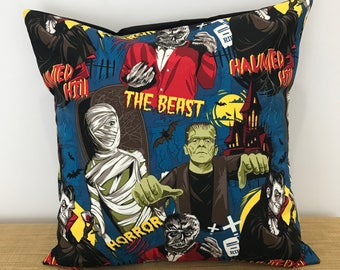 "Dracula, Frankenstein, Monster Cushion Cover. Gift for kids. 18"" (45cm). Cushion Cover Australia. Horror Decor. Horror movie"