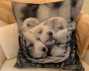 Tapestry Puppy Design Cushion Pillow Cover. 18' (45cm) . Made Australia.