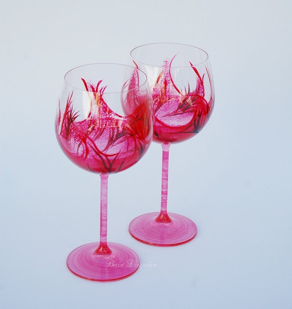 Set Of 2 Hand Painted Crystal Wine Glasses Red Home Decor Etsy