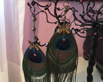 Feather drop earrings/ boho earrings/ bohemian jewelry