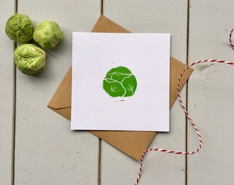 Pack of handmade Christmas Cards - sprout christmas cards - linocut christmas cards - christmas card pack - sprouts - Christmas Greetings