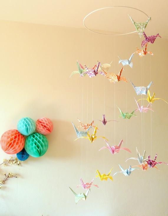 Origami bird baby mobile origami crane mobile japanese paper | Etsy | 733x570