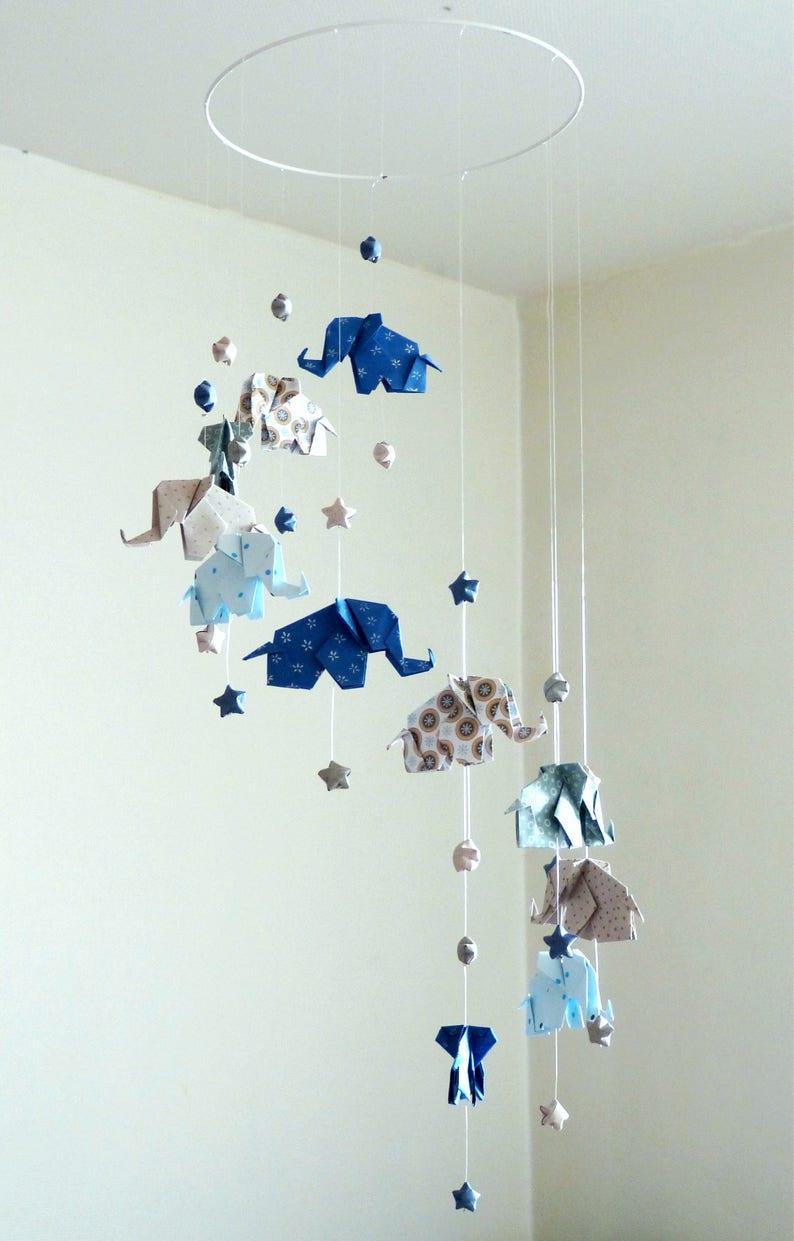 Mobile Bébé Origami Eléphants Et étoiles Bleu Marine Gris Etsy